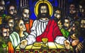 """The Last Supper,"" stained glass from a Catholic church in the Philippines"