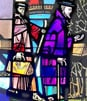 Stained glass depiction of Fathers Demetrius Gallitzin and Father Peter Helbron, early Catholic missionaries in Western Pennsylvania; Saint Patrick's Roman Catholic Church in Canonsburg, Pennsylvania.